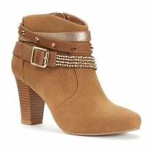 Womens $90 Jennifer Lopez Strappy Dress High Heel Ankle Boot Booties  COGNAC 8.5