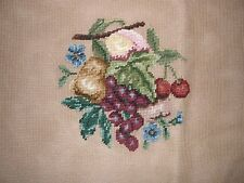 EP 2656 Vintage Fruit Pear Grapes Preworked Needlepoint Canvas