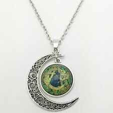 Cat Cabochon Silver plated chain necklace pendants Moon pendant new