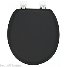 NEW - Ginsey Solid Black Padded Standard Round Toilet Seat