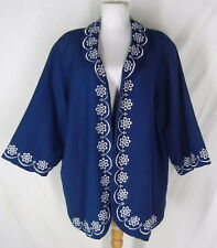 BOB MACKIE WEARABLE ART Linen Rayon Jacket 2X Embellished Embroidered