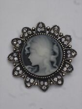 Gothic Victorian Silver Tone Filigree Antique Vintage Cameo Brooch With Crystals