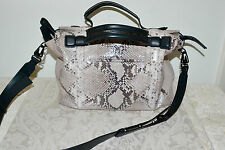 "New $995 RAG & BONE ""Aston"" Fawn Python Satchel Bag Black Leather"
