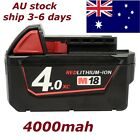 18V 4.0Ah 4000mAh M18 XC Red High Capacity Li-Ion Battery Charger For Milwaukee