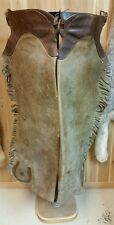 VERY RARE VINTAGE ANTIQUE COLLECTIBLE WESTERN COWBOY HAMLEY LEATHER CHAPS CHINKS