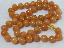 """VINTAGE CHINESE HONEY JADE 10mm BEAD NECKLACE, SILVER CLASP, 23"""""""