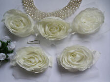 5 Pcs Light Ivory Beige Wedding Large 3-D Wrinkle Chiffon Fabric Flower-BT119