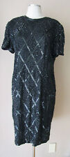 VINTAGE NITELINE BY DELLA ROUFOGALI SILK BEADS SEQUINS LINED EVENING DRESS