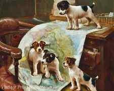World Domination by John Hayes Dogs Puppies Play Map Desk  8x10 Art Print 0726