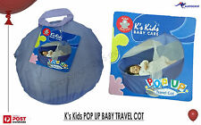 K's Kids POP UP Portable Travel Cot with carry case, matress BNWT Light wieght