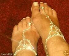 GOLD gep Dancer Rhinestone Barefoot Thong Anklet Chain