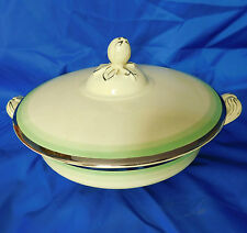 Vintage large tureen serving bowl + lid Johnson Bros Victorian Green silver