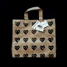 NWT Comme Des Garcons Japan Vinyl Paper Play Heart Emoji Logo Tote Bag AUTHENTIC