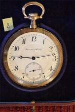 IWC SCHAFFHAUSEN14 K GOLD POCKET WATCH WITH BOX