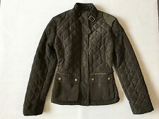 New Mango Military green quilted fitted zip jacket XS