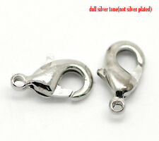15 SILVER TONE LOBSTER/PARROT CLASPS(Nickel Free)10x6mm BRACELETS-NECKLACE (71G)