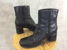 Clarks ankle boot womens size 6.5 black leather 2.5 inch heel square toe