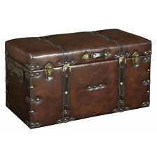 FAUX - Leather Look Large Storage Trunk / Case - Brown ZPGUGK002L