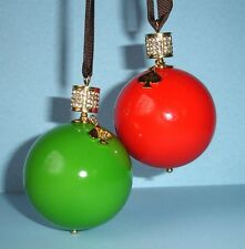 Kate Spade Bejeweled Pave Red & Green Christmas Ball 2 Piece Ornament Set New