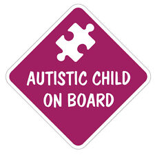 AUTISTIC CHILD ON BOARD STICKER -Car Child Children Autism Safety Children Kids