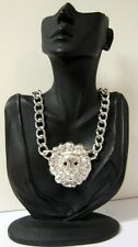 CELEBRITY CHUNKY LARGE OVERSIZED LION HEAD SILVER BLING NECKLACE