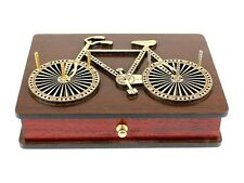 Bicycle Shaped Themed Cribbage Board Box Drawer- 2 Tracks in Wenge Wood / Maple
