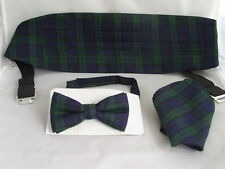 (A) TARTAN-Black/Green/Blue Bow Tie Cummerbund and Hankie Set - Black Watch