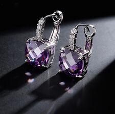 14k White Gold GF Dangle Earrings made w Swarovski Crystal Purple Amethyst Stone