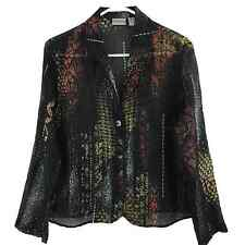 Chico's 1 S M Blazer Style Top Sheer Silk Chiffon Button Front Jacket 8 10