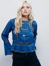 120459 NWD Free People Everyday Fairytale Buttondown Blue Cotton Blouse Top S