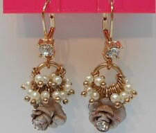 Betsey Johnson Pinktina Shakey Flower Bead Leverback Earrings