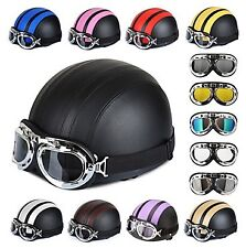 54-60cm Leather Motorcycle Goggles Vintage Garman Style Half Helmets Motorcycle