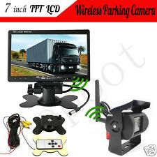 7''TFT LCD Car Rear View Backup Monitor+Wireless Parking Night Vision Camera A