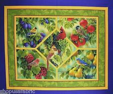 BIRDS FINCH CARDINALS FRUIT QUILT TOP PANEL WALL HANGING on 100% COTTON FABRIC
