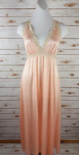 Vintage Olga Secret Hug Long Nightgown S Silky Nylon Lace Peach/Cream Soft 9632