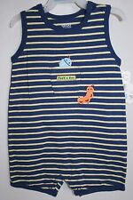 New Carter's Summer Strip Outfit One Piece Romper Baby Boy 3-6 mo Bug Theme