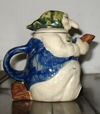 Vtg Baba Yaga Pottery Kitchen Witch Broomstick Teapot HandPainted RJ Drinkwater