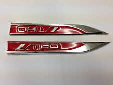2PCS TRD SPORT METAL SIDE FENDER V EMBLEM BADGE STICKER RED  150mm FOR TOYOTA