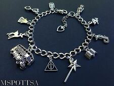 Harry Potter Books Charm Bracelet Deathly Hallows Wands Bus Snakes Witch Wizards
