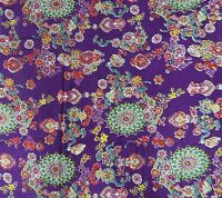 Purple Fabric Floral Pattern Pure Cotton Material Sewing Cushion Craft By Metre