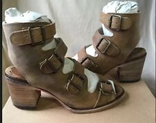 Freebird By Steven Quail Tan Distressed Leather Sandals Open Toe Bootie Size 9