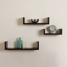 Elegant Floating Shelves U Walnut Brown Finish Set of 3 Shelf Modern Home Decor