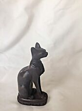 "1 Egyptian Bastet Cat Goddess Resin Stone Statue Black 4.5"" # 1510"
