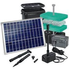 Solar Teichfilter Set Starter 1300 mit Akku und LED sauberes Wasser Sauerstoff