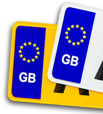 Pair GB Euro Vinyl Sticker For Std Car Number Plate European Travel Identifier