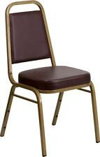 HERCULES Series Trapezoidal Back Stacking Banquet Chair w/Brown Vinyl Gold Frame
