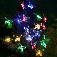 4.7M 20 Led Solar Fairy Light String Lamp Multi Color Butterfly Xmas Party 5C1F