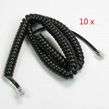 ( 10 pcs ) 18ft Telephone Handset Receiver Cord Phone Coil Cable 4P4C - Black