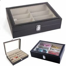 Jewelry Watch 8 Slot Sunglasses Display Box Eyeglass Storage Case PU Leather