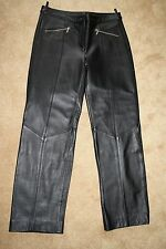 NWT WILSONS 100% LEATHER Solid Black PANTS, Size 10